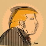 drawing of donald trump shouting