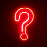 red neon question mark