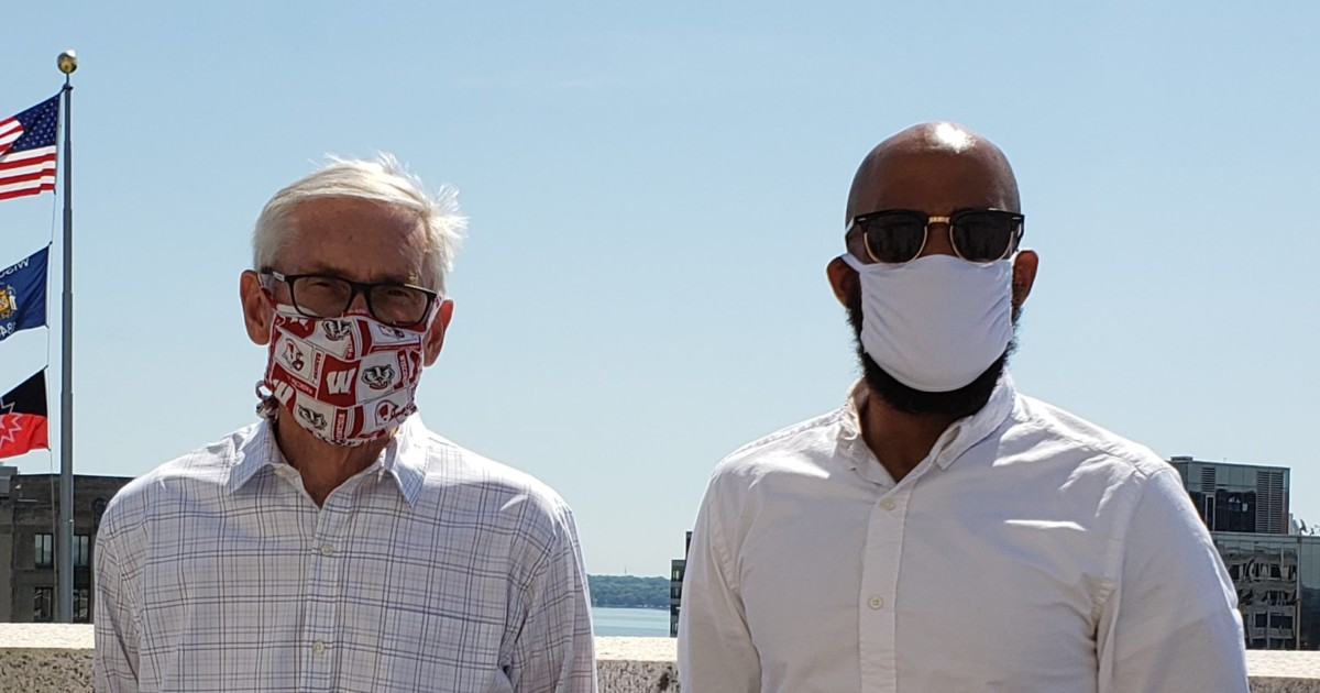 tony evers and mandela barnes wearing masks